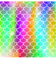 Princess mermaid background with kawaii rainbow vector