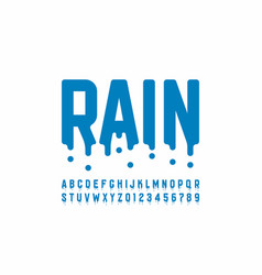Rainy font design modern alphabet letters and vector