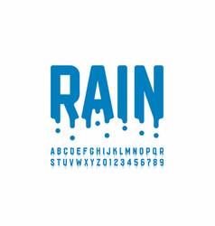 Rainy font design modern alphabet letters vector
