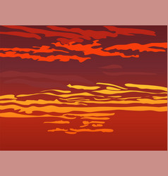 red orange sky after sunset vector image