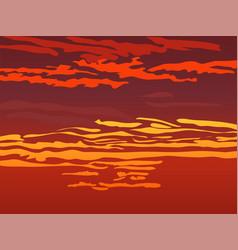 Red orange sky after sunset vector