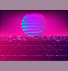 retro 1980s glowing neon sun background vector image