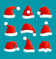 Santa red hats christmas funny caps santa vector