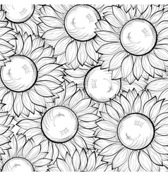 seamless background with sunflowers vector image