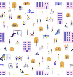 seamless pattern with men and women walking with vector image