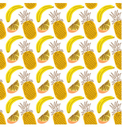 seamless wrap pattern with fruit pineapple banana vector image