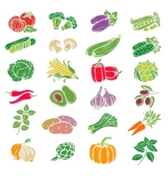 Set decorative icons vegetables vector