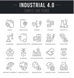 Set line icons industrial 40 vector