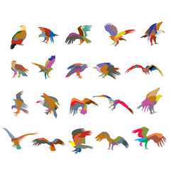 Set of colorful mosaic american eagle silhouettes vector