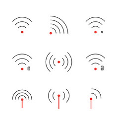 set of thin line wifi signal icon vector image