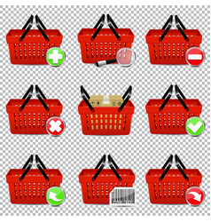 shopping basket set isolated on transparent vector image