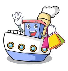shopping ship character cartoon style vector image