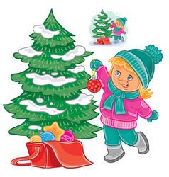 Small girl decorating christmas tree vector