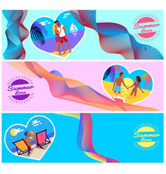 Summer love photos of couples in heart shape frame vector