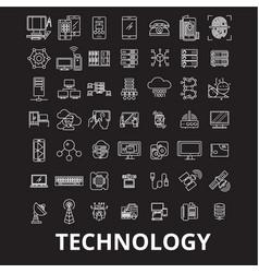 technology editable line icons set on black vector image