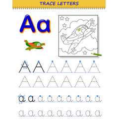 Tracing letter a for study alphabet printable vector