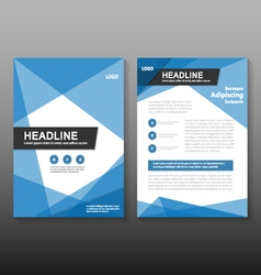 Triangle blue leaflet brochure leaflet templates vector