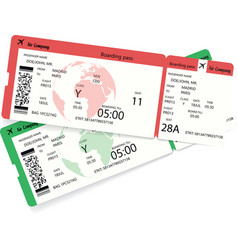 two airline boarding pass tickets for plane vector image