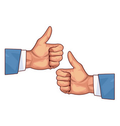 Two thumbs up hands vector