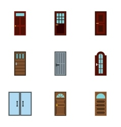 Types of doors icons set flat style vector