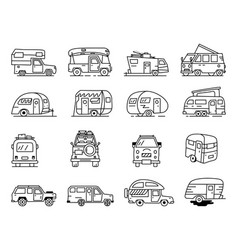 Vintage hand drawn camper recreational trailers vector
