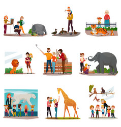 Zoo visitors set vector