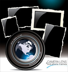 camera lens with old photo frames vector image