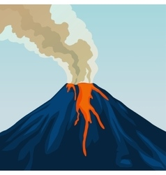 Crater mountain volcano hot natural eruption vector image vector image
