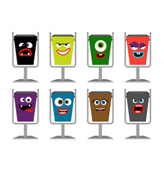 garbage cans with faces waste vector image vector image