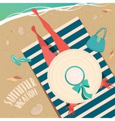 Girl resting on the beach vector image vector image