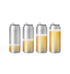 realistic beer cans mockup beer background vector image vector image