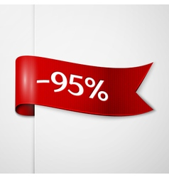 Red ribbon with inscription 95 percent discounts vector image vector image