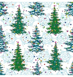 Seamless pattern Christmas trees and snowflakes vector image vector image