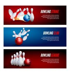 Bowling banner set design Bowling strike champ vector image