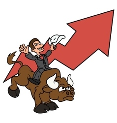 Businessman is riding bull 3 vector