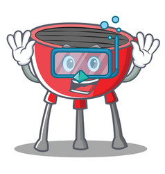 Diving barbecue grill cartoon character vector