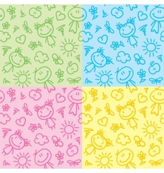 hand drawn kid patterns vector image vector image