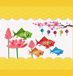 happy mid autumn festival lotus flower and carp vector image