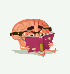 happy smiling brain character read book vector image