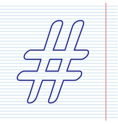hashtag sign navy line icon vector image vector image