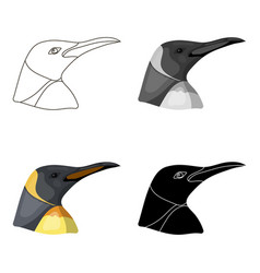 penguin icon in cartoon style isolated on white vector image