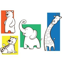 set of animals for coloring book vector image vector image