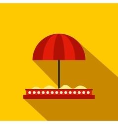 Children sandbox with red umbrella flat icon vector image vector image