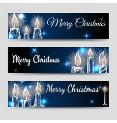 Christmas banners set with candles vector image