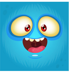 happy cartoon monster face avatar vector image
