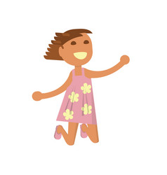 happy girl is jumping vector image