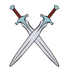 swords crossed icon cartoon vector image