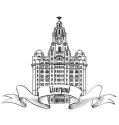 travel england sign liverpool liver building uk vector image vector image