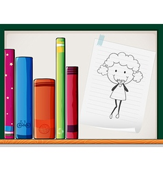 A shelf with books and a piece of paper with an vector image vector image