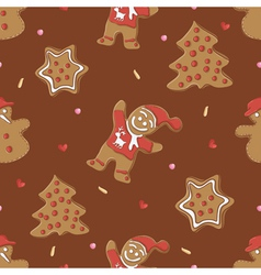 Gingerbread seamless pattern for christmas vector image vector image